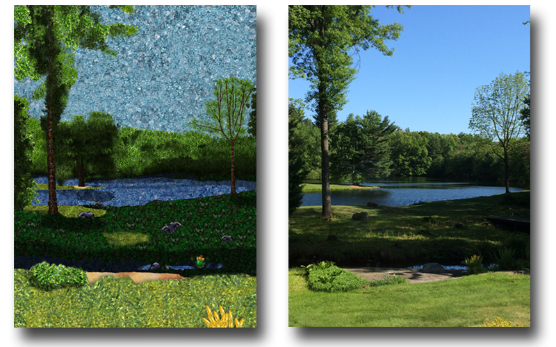 Gemstone replacement for landscape scene. Standard pricing for custom replacements is $100; subject to change based on choice of photograph.