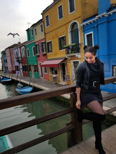 Bridge over the main canal in Burano, Italy