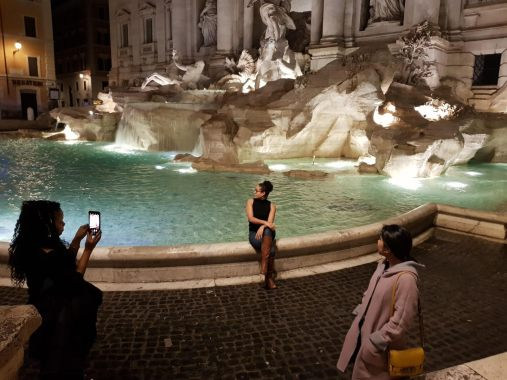 The Trevi Fountain was so empty at 2am we could literally do a photo shoot