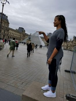 Classic finger touch of the Louvre